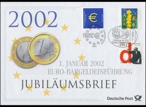 2113+2155+2234 Euro-Einführung 2002 - Jubiläumsbrief mit ESST 1.1.2002