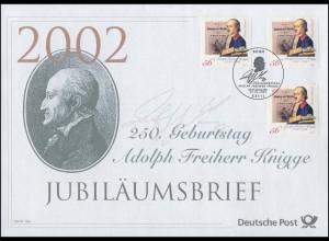2241 Freiherr von Knigge 2002 - Jubiläumsbrief