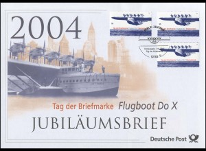 2428 Tag der Briefmarke & Flugboot Do X 2004 - Jubiläumsbrief