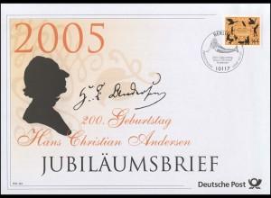 2453 Hans Christian Andersen 2005 - Jubiläumsbrief