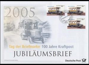 2456 Tag der Briefmarke & 100 Jahre Kraftpost 2005 - Jubiläumsbrief