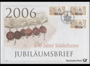 2558 Hansekogge & 650 Jahre Städtehanse 2006 - Jubiläumsbrief