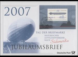 Block 69 Tag der Briefmarke & Luftschiff Zeppelin 2007 - Jubiläumsbrief