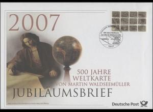 2598 Weltkarte von Martin Waldseemüller 2007 - Jubiläumsbrief