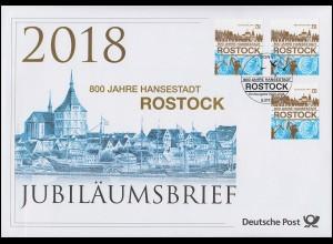 3395 800 Jahre Hansestadt Rostock Stadtsilhouette Jubiläumsbrief