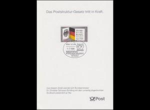 1421 EB 1/1989 Poststruktur-Gesetz - Typ I MIT Grußwort des Bundesministers