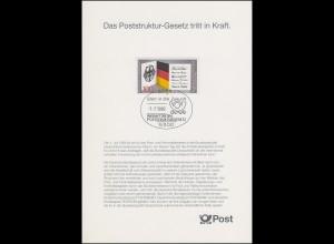 1421 EB 1/1989 Poststruktur-Gesetz - Typ II: OHNE Grußwort des Bundesministers