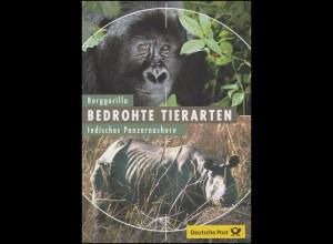 2182-2183 Bedrohte Tiere: Berggorilla & Indisches Panzernashorn - EB 2/2001