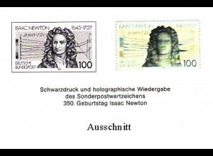 Schwarzdruck aus JB 1993 Isaac Newton mit Hologramm SD 16