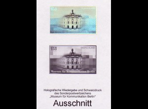 Schwarzdruck aus JB 2002 Museum für Kommunikation Berlin, mit Hologramm SD 25