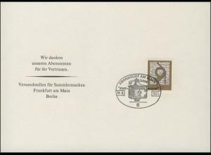 Jahresgabe der Post 100 Jahre Postmuseum Frankfurt/Main, ESSt Frankfurt 18.8.72