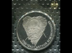 Gedenkmünze Schopenhauer 10 DM von 1988, PP polierte Platte