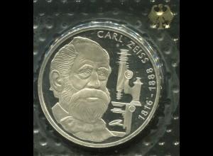 Gedenkmünze Carl Zeiss 10 DM von 1988, PP polierte Platte