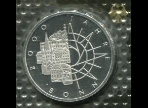 Gedenkmünze 2000 Jahre Bonn 10 DM von 1989, PP polierte Platte