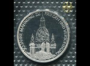 Gedenkmünze Dresden Frauenkirche 10 DM von 1995, PP polierte Platte