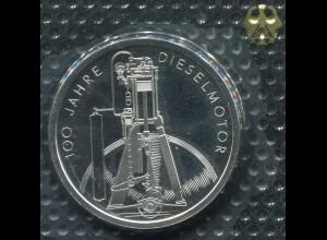 Gedenkmünze Dieselmotor 10 DM von 1997, PP polierte Platte