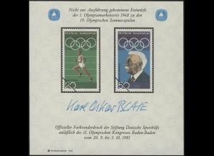 Sporthilfe Sonderdruck Olympischer Kongress Laufen und Pierre de Coubertin 1981