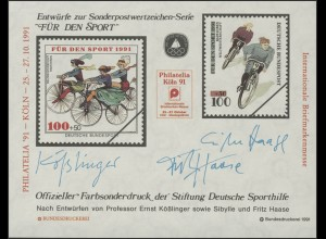 Sporthilfe Sonderdruck Radfahren 1991 Philatelia Köln **