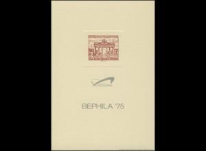 Berlin-Sonderdruck BEPHILA 1975 Manilakarton ohne Wasserzeichen