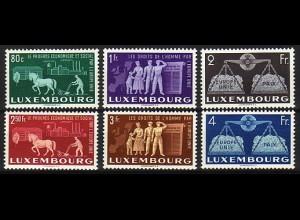 478-483 Europäische Einigung 1951, Luxemburg postfrisch ** / MNH