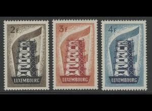 1956 Luxemburg 555/557 Gemeinschaftsausgabe, Satz komplett postfrisch **