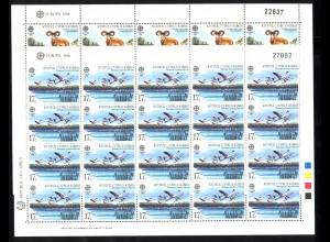 1986 Zypern 655-656 Natur- und Umweltschutz: Mufflon und Flamingo, Bogen-Satz **