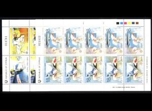 1988 Zypern 695-698 Transport- und Kommunikationsmittel, Kleinbogen-Satz **