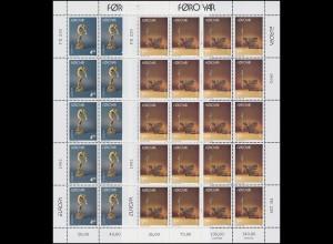 1993 Dänemark-Färöer 248/249 - Kleinbogen-Satz, postfrisch **