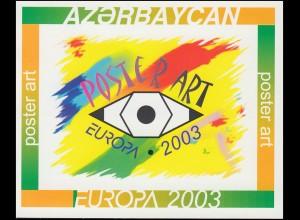 2003 Aserbaidschan 543D-544D Plakatkunst, Markenheftchen ** postfrisch
