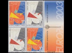 2003 Zypern 1013D-1014D Plakatkunst, Heftchenblatt **