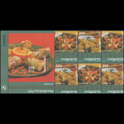 2005 Albanien 3048-3049 Gastronomie, Heftchenblatt ** postfrisch