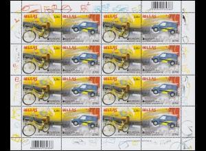 2013 Griechenland 2710-2711A Postfahrzeuge, Zusammendruck-Kleinbogen **