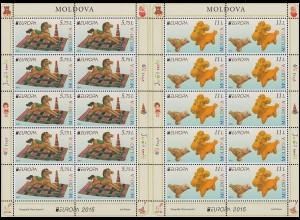 2015 Moldawien 904-905 Historisches Spielzeug, Kleinbogen-Satz ** postfrisch