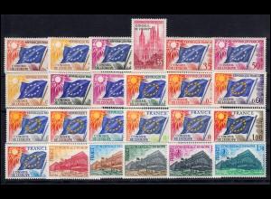 Dienstmarken für den Europarat Jahrgang 1958-1979 komplett, Frankreich 1-24 **