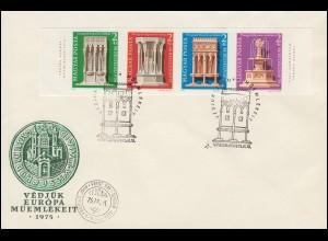 1975 Ungarn 3060/3063B Denkmalschutzjahr, Satz Viererstreifen ungezähnt auf FDC
