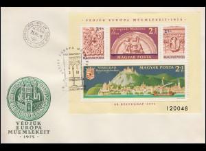1975 Ungarn 3064-3067 Block 115A Denkmalschutzjahr, gezähnt auf FDC
