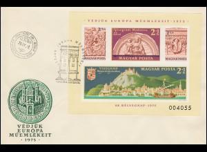 1975 Ungarn 3064-3067 Block 115B Denkmalschutzjahr, ungezähnt auf FDC