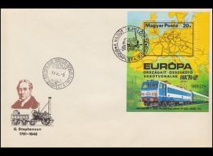 1979 Ungarn 3350 Block 137A Verkehrsaustellung IVA Hamburg, gezähnt auf FDC