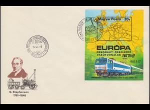 1979 Ungarn 3350 Block 137B Verkehrsaustellung IVA Hamburg, ungezähnt auf FDC