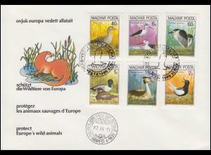 1980 Ungarn 3451-3456B Naturschutzjahr Vögel, Satz ungezähnt auf FDC