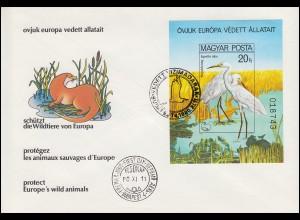 1980 Ungarn 3457 Block 146B Naturschutzjahr Silberreiher, ungezähnt auf FDC