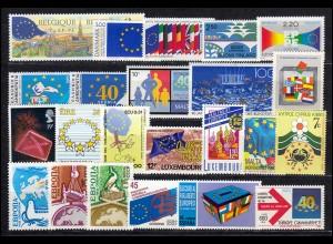 Europa Sympathieausgaben/Mitläufer Jahrgang 1989 komplett, ** postfrisch