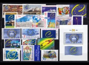 Europa Sympathieausgaben/Mitläufer Jahrgang 1999, 41 Ausgaben, ** postfrisch