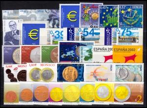 Europa Sympathieausgaben/Mitläufer Jahrgang 2002, 12 Ausgaben, ** postfrisch