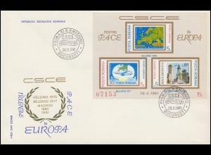 1981 Rumänien 3825/3827 Block 183 KSZE-Konferenz Madrid, auf FDC