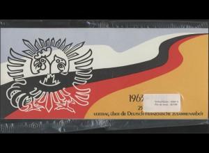 Vertrag 1988 Bund 1351, Faltkarte mit Frankreich 2636, eingeschweißt **