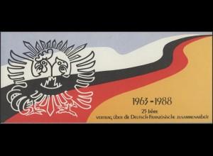 Vertrag 1988 Bund, Faltkarte Viererblock Deutschland 1351 und Frankreich 2636 **