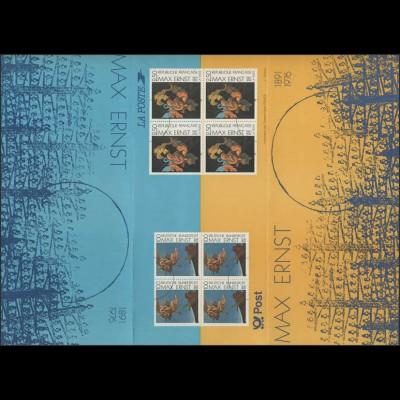 Max Ernst von 1991, Bund 1569 und Frankreich 2862, Faltkarte postfrisch **
