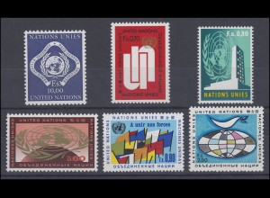 9-14 UNO Genf Jahrgang 1970 komplett, postfrisch **