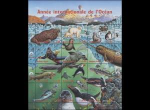 UNO Genf 334-345 Jahr des Ozeans: Fauna der Polarmeere 1998, ZD-Bogen **